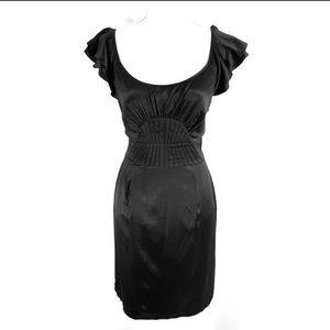 Gianni Bini black silk flutter sleeve sheath dress